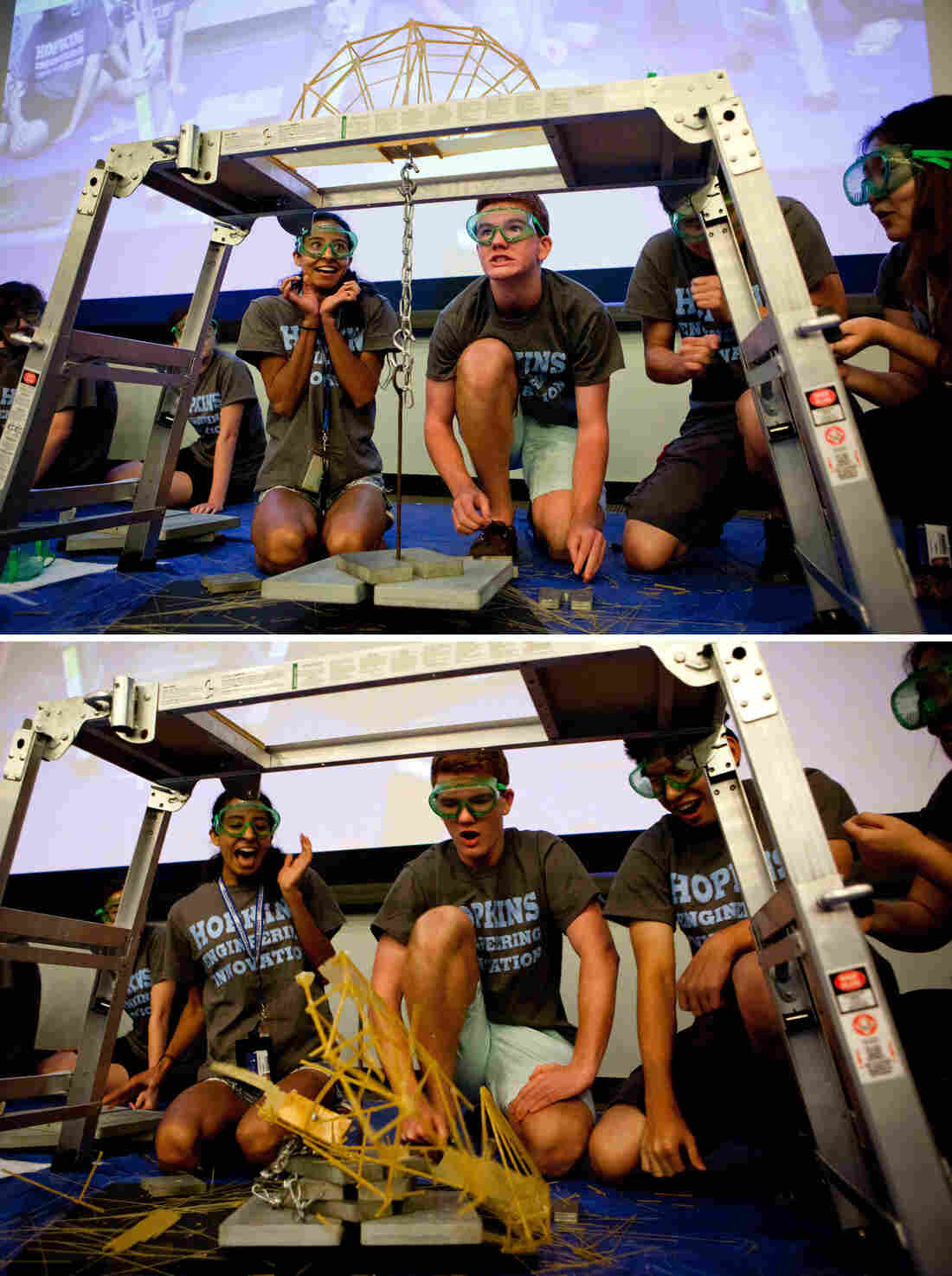 High school students in the Johns Hopkins University summer program, Engineering Innovation, compete in an annual spaghetti bridge-building competition. Above: The A'hunna Key-Lows push their bridge to the limit. Below: The Key-Lows' winning bridge shatters — but only after holding 53 pounds.