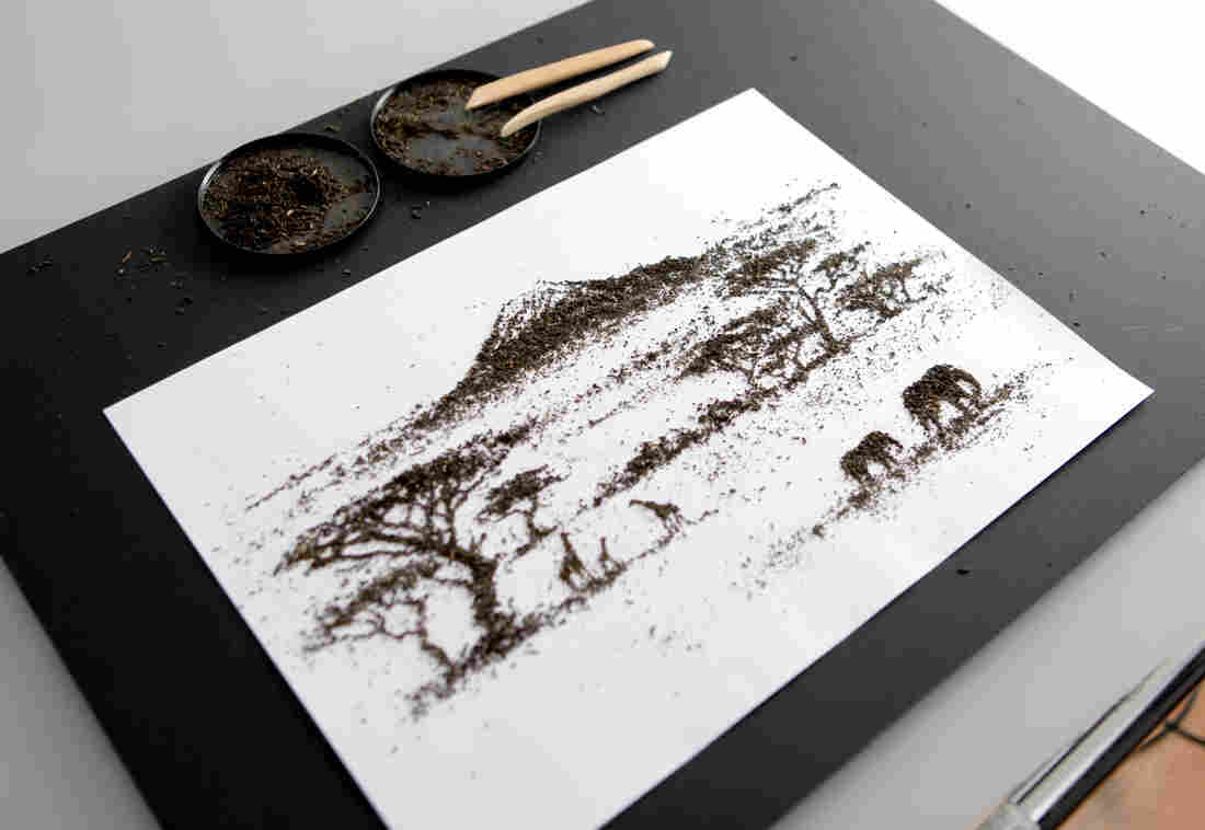 Andrew Gorkovenko's artwork for packaging for tea from Kenya, crafted with Kenyan tea leaves