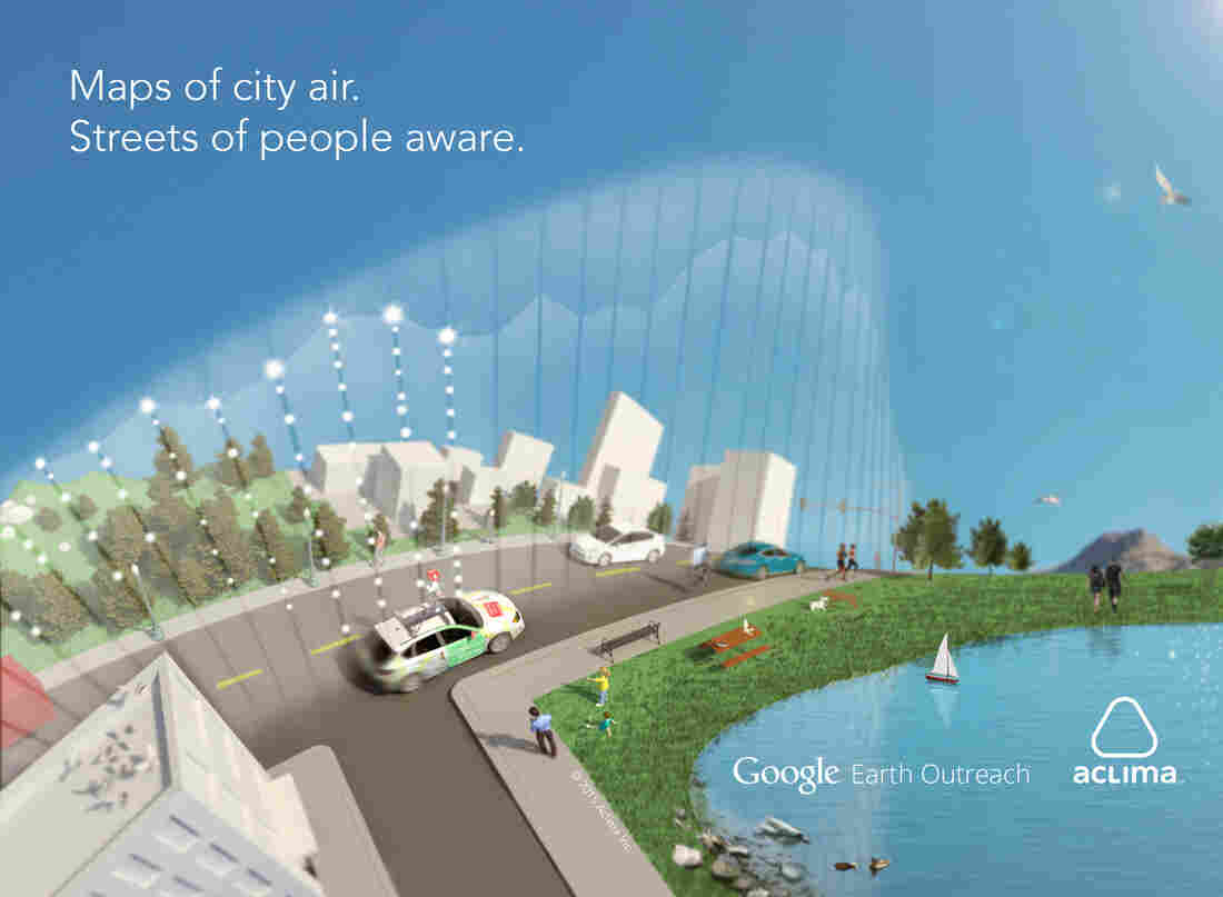 """A rendering of how pollution-sensor equipped Google Street View cars """"see the air."""""""