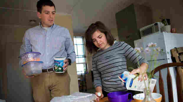 """Dan Tothill, 26, and Megan Brabec, 24, are struggling with high student debt burdens and underemployment. """"I hope that I can look back on myself in 10 years, like 'Oh, I was so silly to be worrying about that,"""" Tothill said. """"But, at this point, it doesn't feel that way at all."""""""