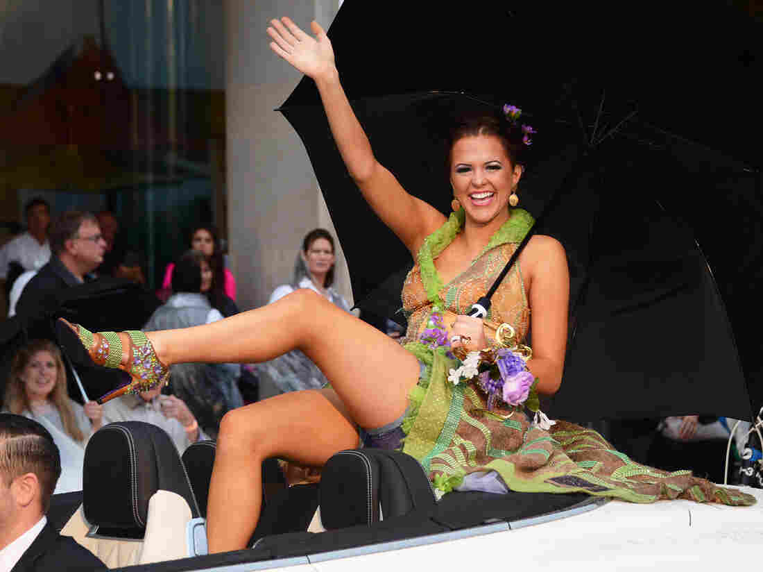 """Sierra Sandison, Miss Idaho 2014, during the """"Show Us Your Shoes"""" parade at the Miss America pageant."""