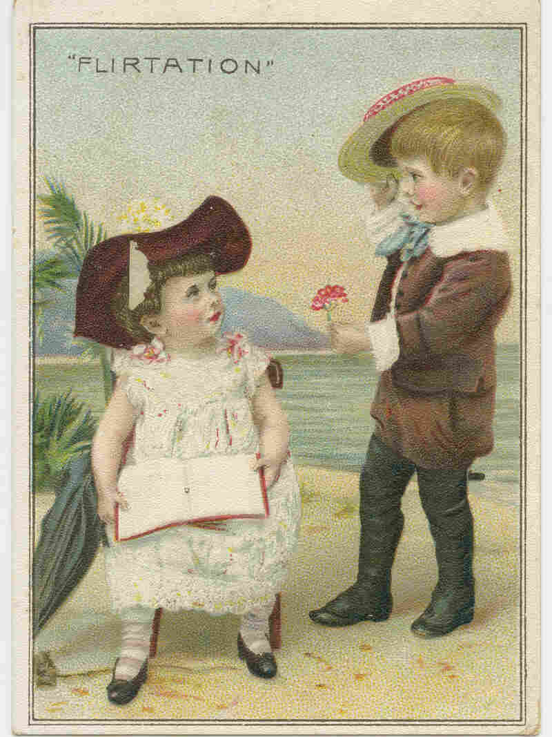 A commercial ad variation on the flirtation card, issued by a grocery store. Circa 1900.