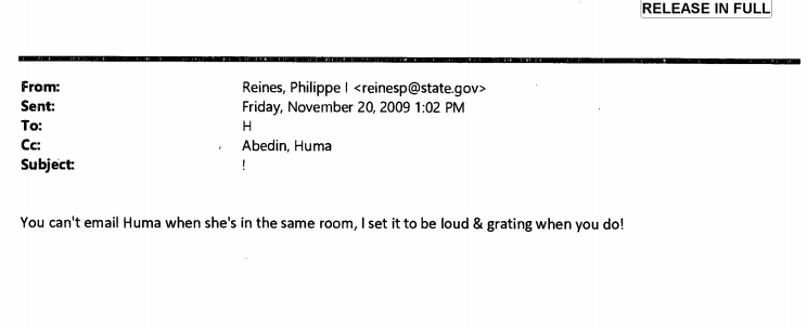You can't email Huma when she's in the same room!