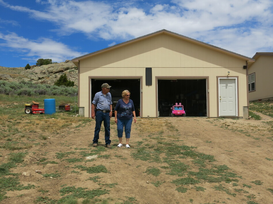 Jim and Lyn Schneider installed solar panels and batteries because bringing grid power to their house in central Wyoming was going to cost around $80,000. (Leigh Paterson/Wyoming Public Radio)