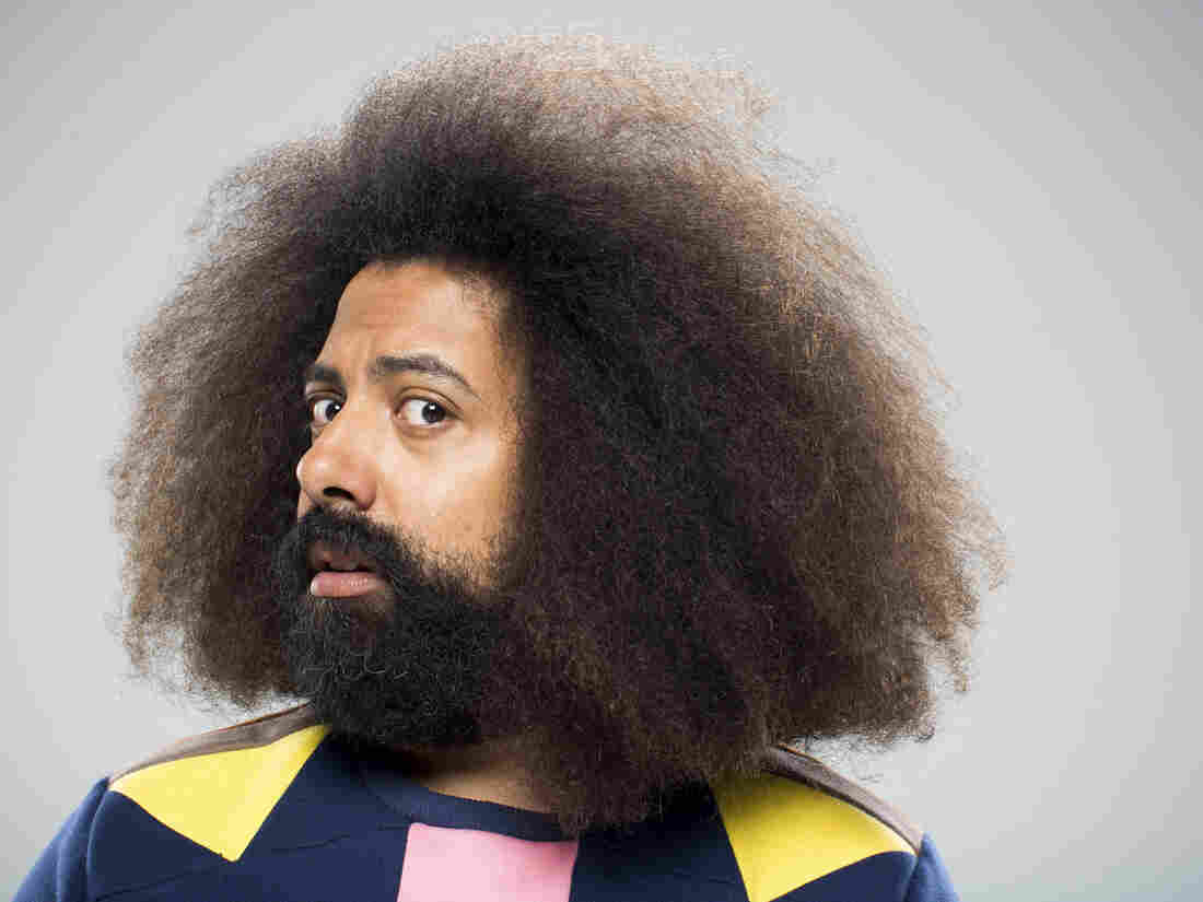 """Reggie Watts calls his form of entertainment """"disinformationist."""" He disorients his audience, sometimes talking non-sense and switching seamlessly between accents — all improvised on the spot."""