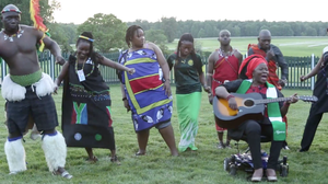 "Grace Jerry performs her original single ""E Go Happen"" at a gathering of young African leaders at Montpelier, James Madison's home. The lyrics say: ""Yes we can, sure we can change the world."""