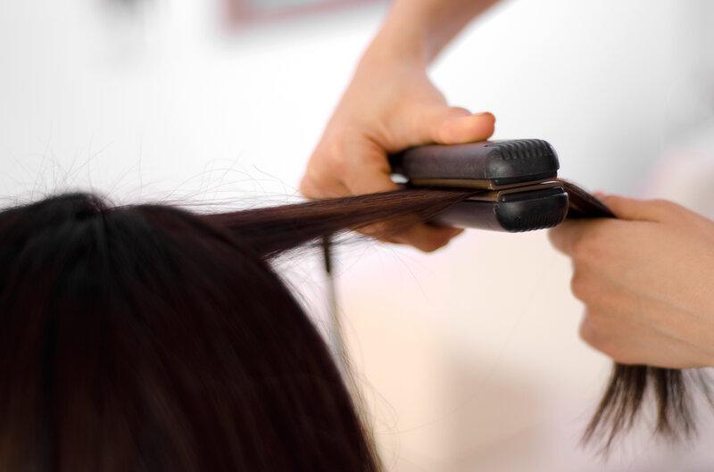 Image result for straight hair using straightener black hair
