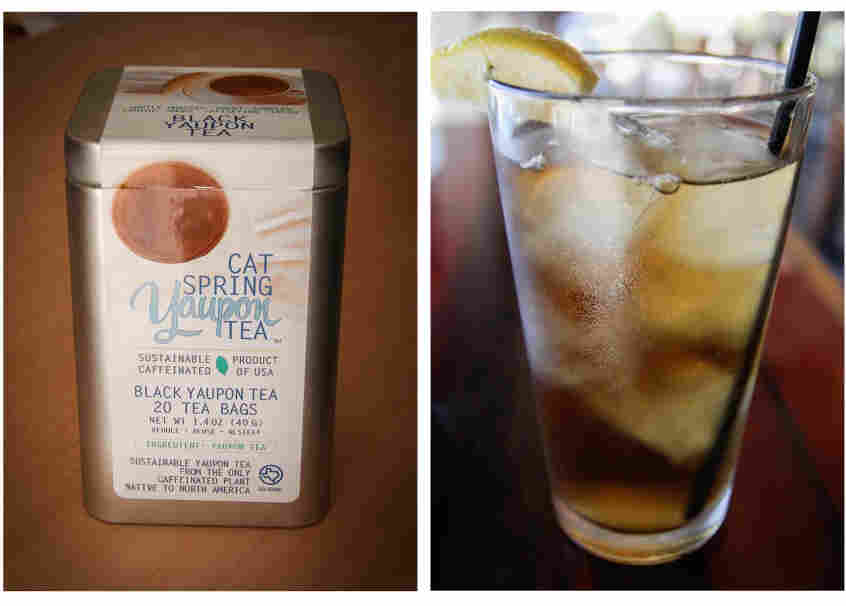 (Left) A box of Cat Spring Yaupon Tea, produced by JennaDee Detro and her sister, Abianne Falla. (Right) A glass of iced yaupon tea as served at Odd Duck, a farm-to-table restaurant in Austin, Texas.
