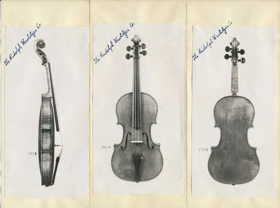 Documentation of Roman Totenberg's Stradivarius violin. The instrument went missing after one of Roman's concerts but was rediscovered more than three decades later. (Courtesy of the Totenberg family)