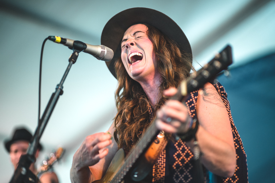 Brandi Carlile performs at the 2015 Newport Folk Festival. (Adam Kissick for NPR)