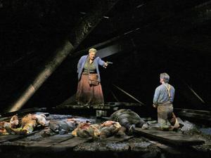 Deborah Nansteel as Lucinda and Nathan Gunn as Inman in the world premiere of Cold Mountain at the Santa Fe Opera.