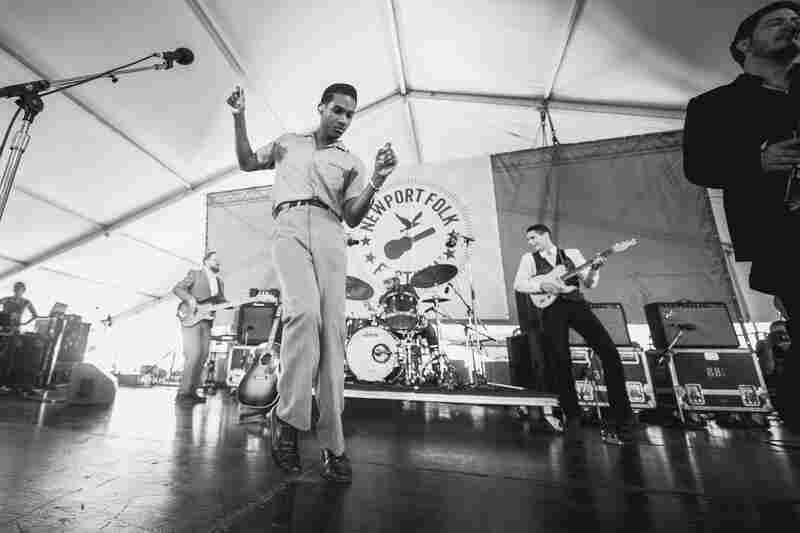 Leon Bridges performs at the 2015 Newport Folk Festival.