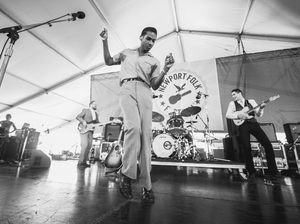 Leon Bridges performs at the 2015 Newport Folk Festival.