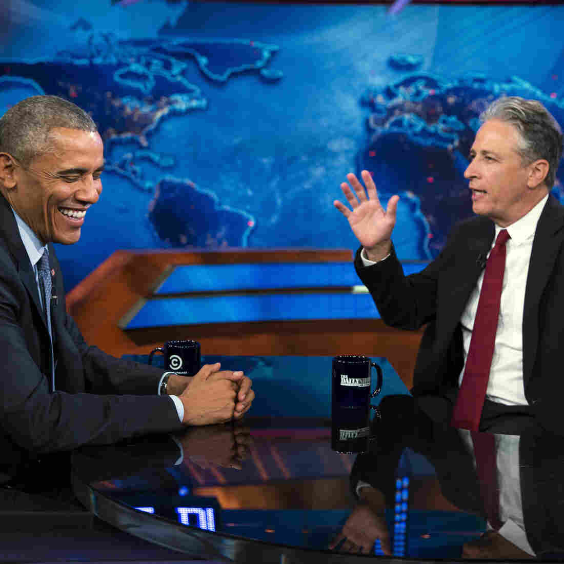 President Obama talks with The Daily Show host Jon Stewart.