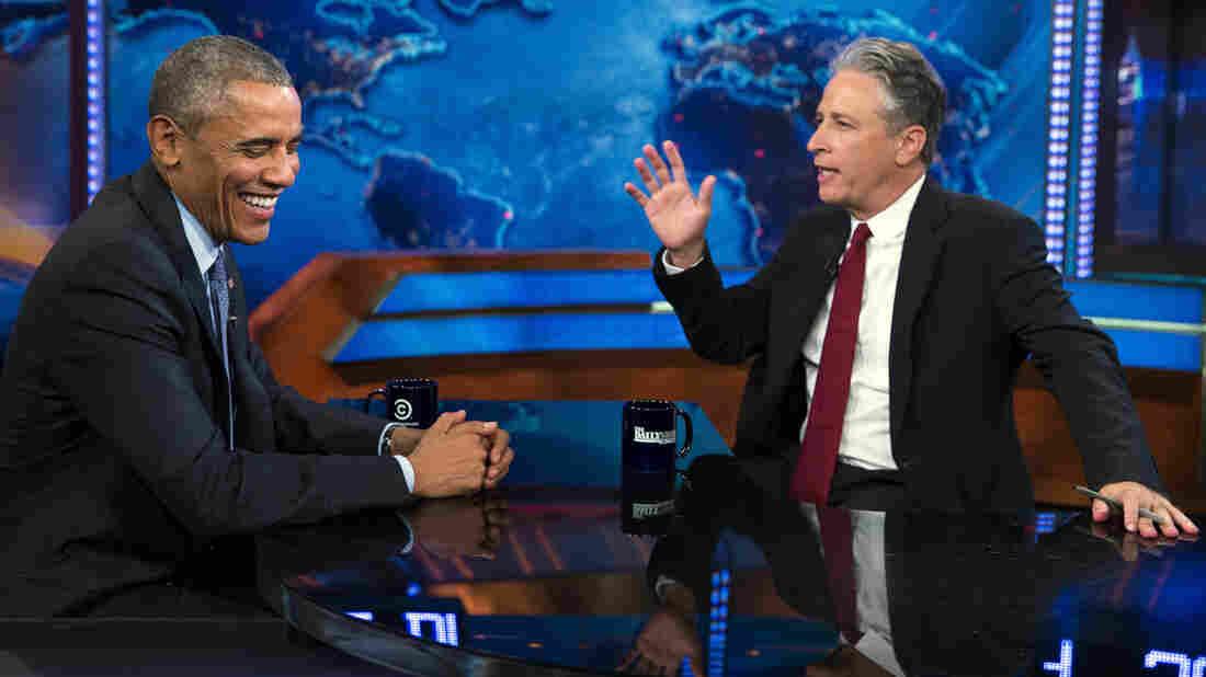 President Obama talks with The Daily Show host Jon Stewart.