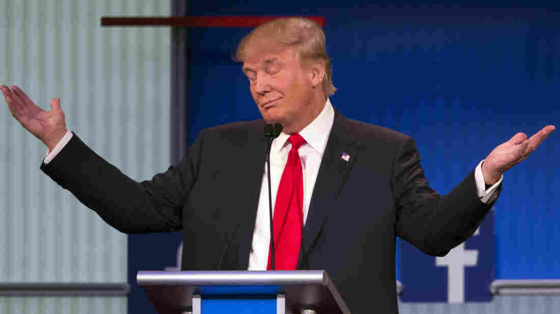 Leading in the polls, Republican presidential candidate Donald Trump was at center stage during the first Republican presidential debate Thursday in Cleveland.