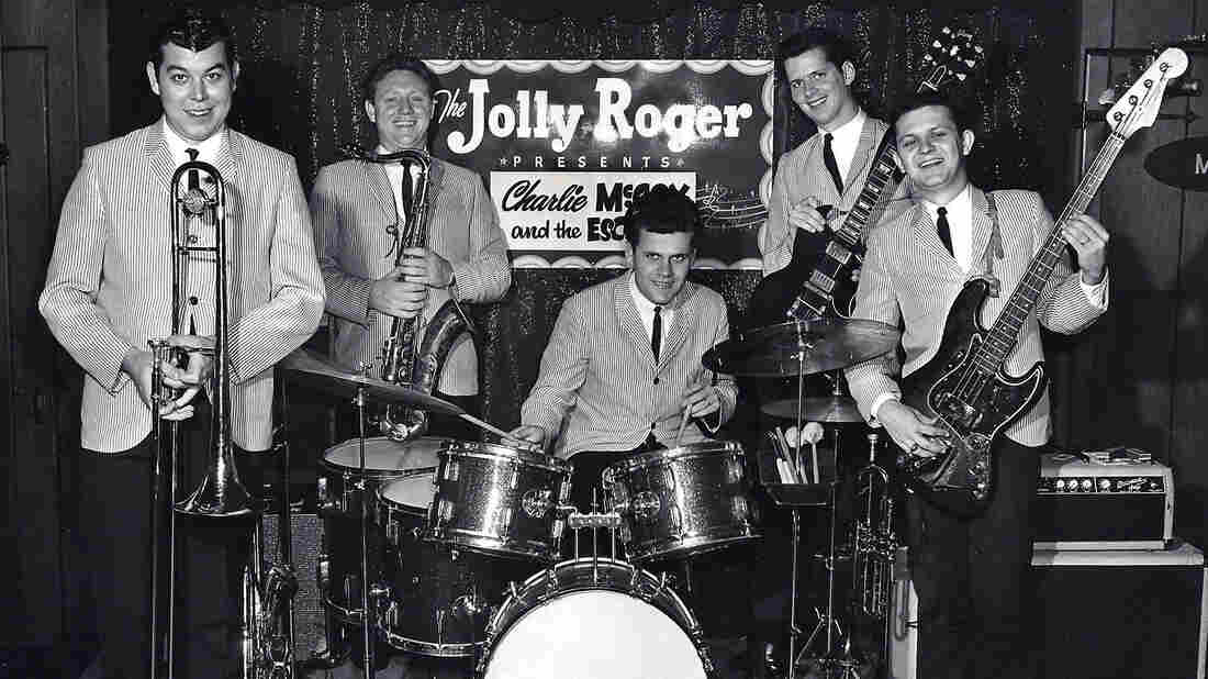 Charlie McCoy and the Escorts perform at the Jolly Roger in Printers Alley, circa 1965. From left to right: Wayne Butler, Jerry Tuttle, Kenny Buttrey, Mac Gayden, and Charlie McCoy.