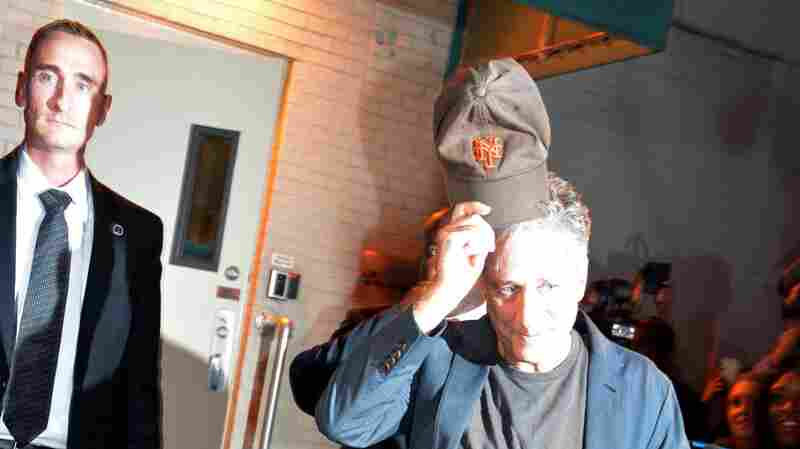 Jon Stewart leaves the studio Thursday after taping his final episode of The Daily Show with Jon Stewart in New York.