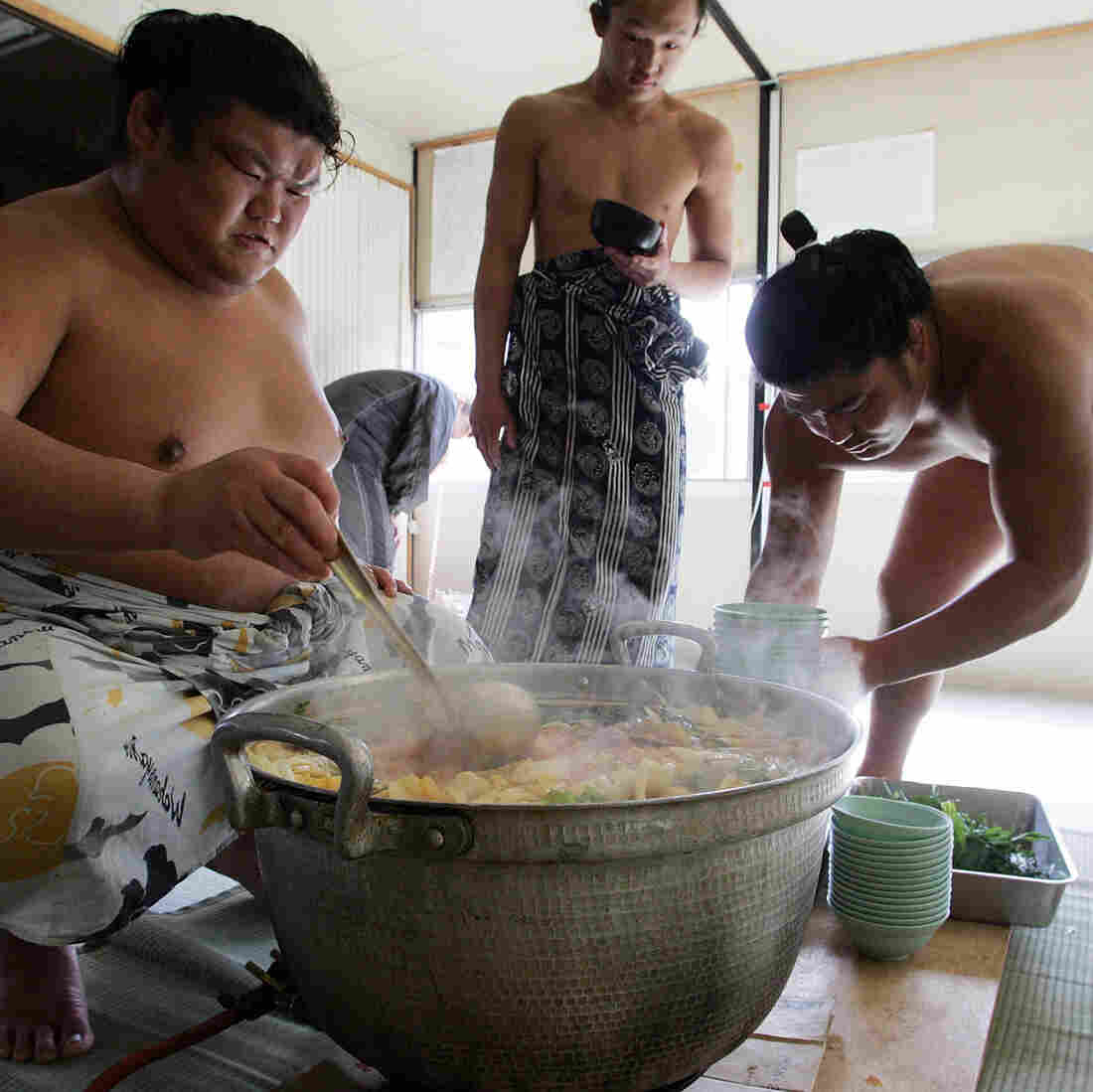 Sumo Breakfast Of Champions: Bowls And Bowls Of Clay Pot Stew