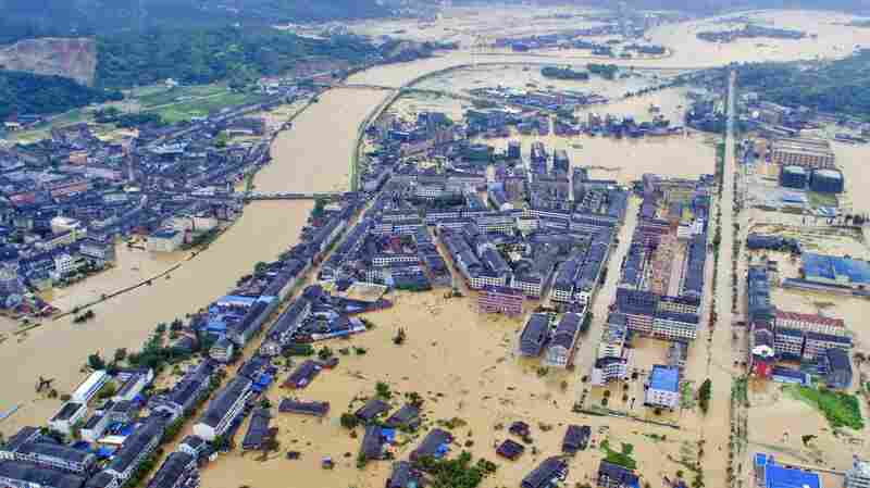 An aerial view shows a flooded town in Pingyang county after typhoon Soudelor caused floods and mudslides, in Zhejiang province, China, on Sunday.