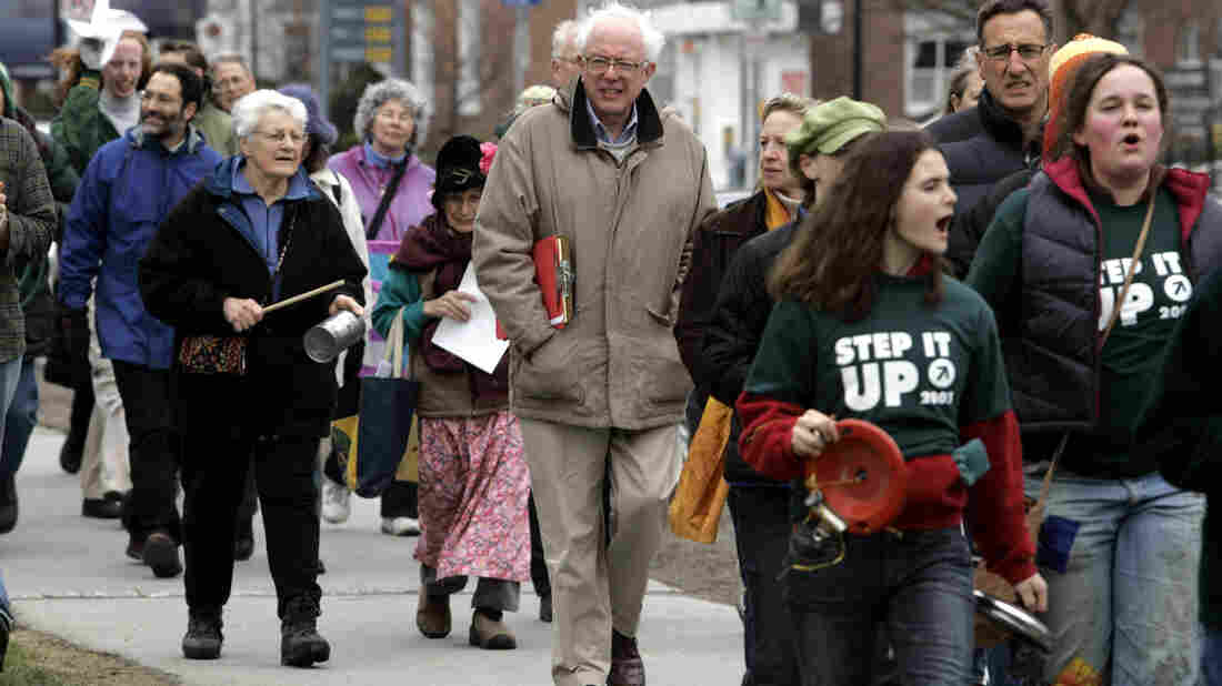 "In 2007, Bernie Sanders took part in a Vermont walk for ""Step It Up 2007,"" a movement aimed at reducing carbon emissions 80 percent by 2050."