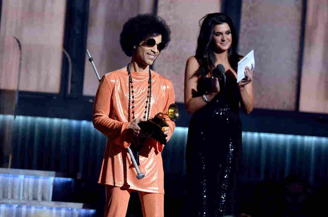 Prince onstage during the 57th Annual Grammy Awards in Los Angeles in February.