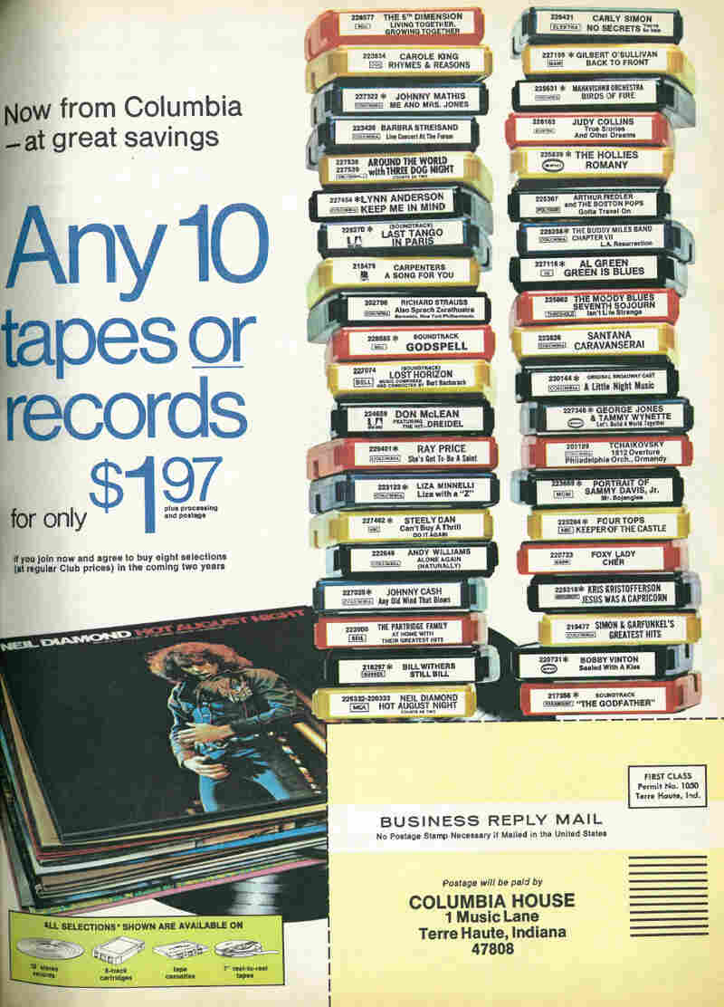 An advertisement for Columbia House from 1973. By the time CDs rolled around, the price was just eight for a penny.