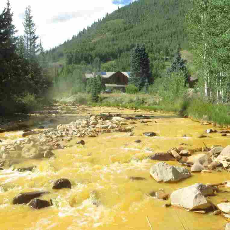 As it monitored the wastewater blowout that began Wednesday, the EPA took this photo of a sampling point near the source outside Silverton, Colo., on Sunday.