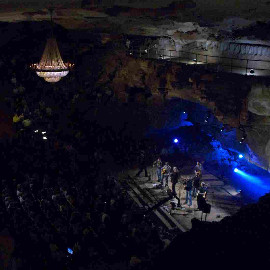 "Ricky Skaggs and Kentucky Thunder perform during ""Bluegrass Underground"" at the Cumberland Caverns in 2010."