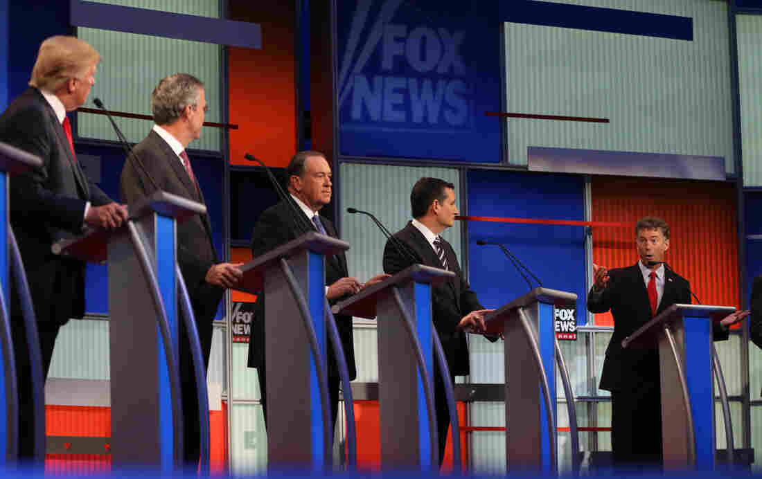 Republican presidential candidates (from left) Donald Trump, Jeb Bush, Mike Huckabee, Ted Cruz and Rand Paul during the Republican presidential debate in Cleveland on Aug.6.