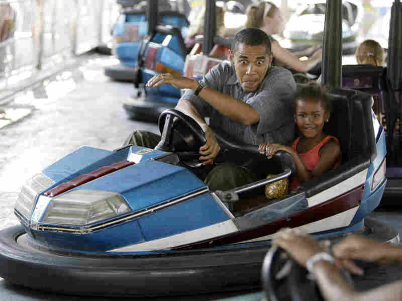 In 2007, then-candidate Barack Obama rode bumper cars at the Iowa State Fair with his daughter Sasha.