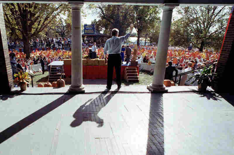 Candidate Bill Clinton waves to supporters at the Iowa State Fair in 1992.
