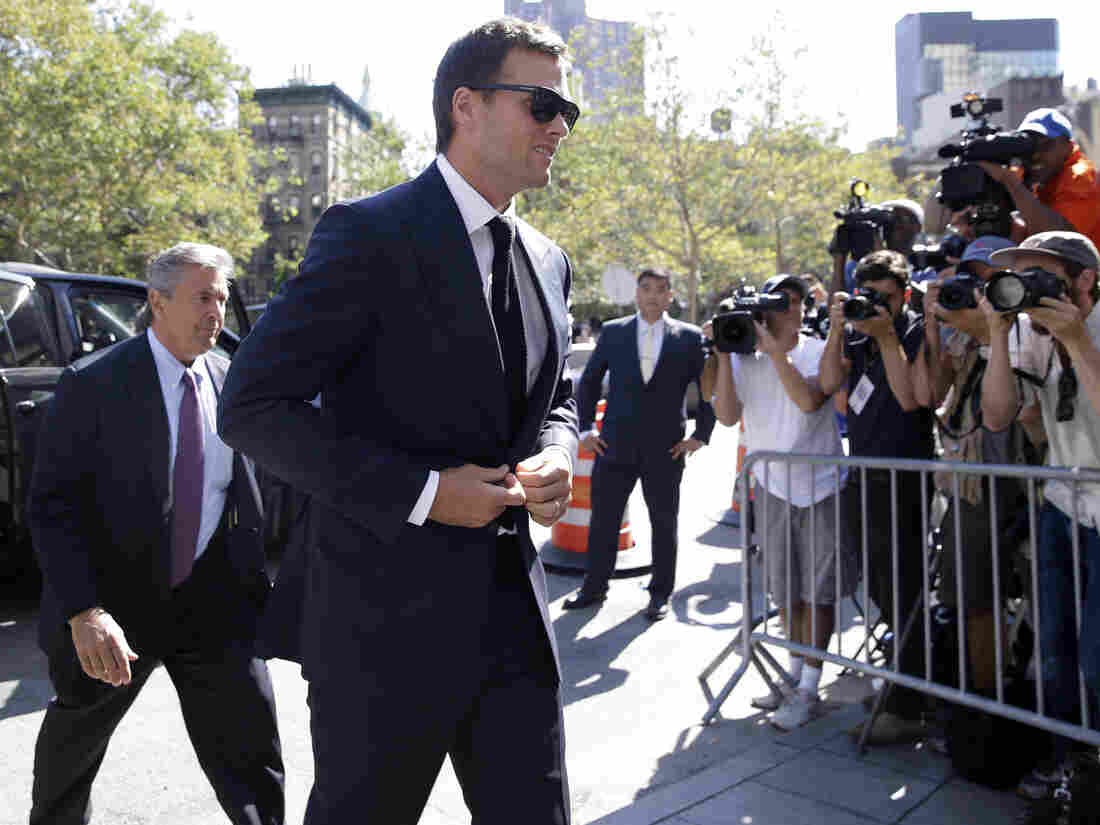 New England Patriots quarterback Tom Brady arrives at federal court in New York on Wednesday.