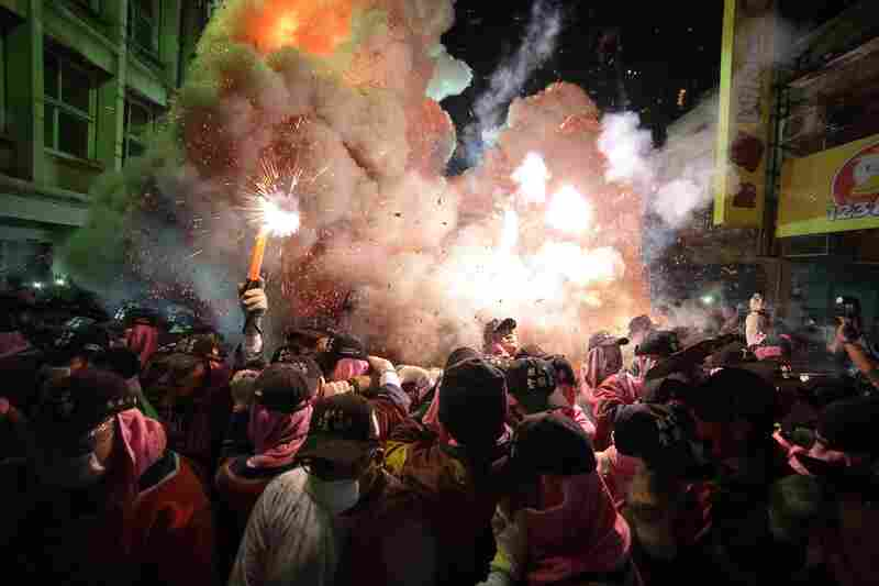 Every year on the birthday of Matsu, goddess of the sea, believers in China ignite the firecrackers. The idea is that the stronger the blast, the more luck Matsu will bring in the coming year.