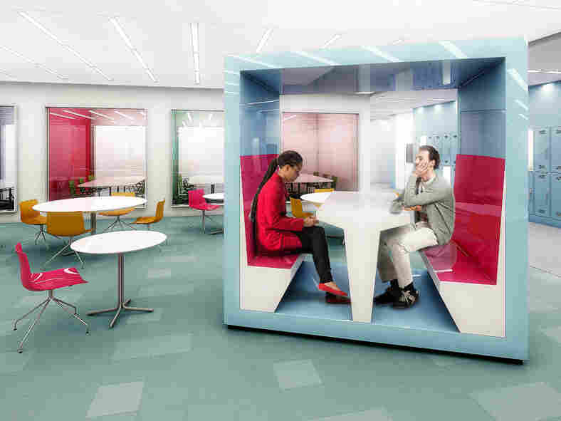 The school's commons has many breakout spaces.