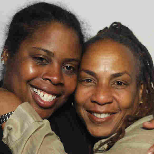 Monica Harwell (right) and her daughter Andrea Cleveland at StoryCorps.