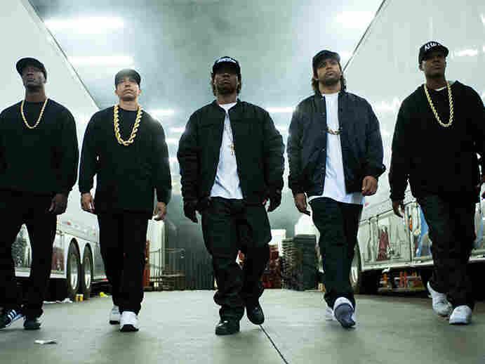 The five young stars of Straight Outta Compton. Left to right: Aldis Hodge (MC Ren), Neil Brown, Jr. (DJ Yella), Jason Mitchell (Eazy-E), O'Shea Jackson, Jr. (Ice Cube), Corey Hawkins (Dr. Dre).