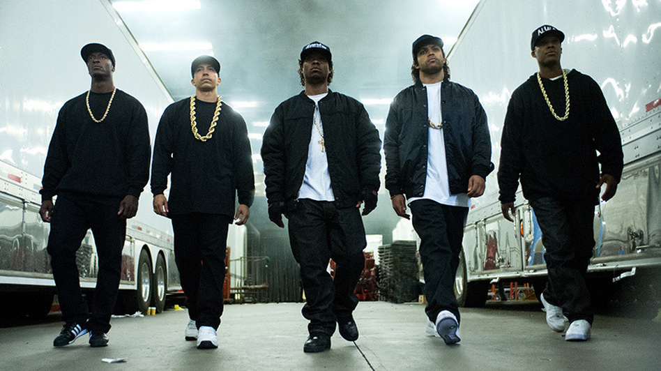 The five young stars of Straight Outta Compton. Left to right: Aldis Hodge (MC Ren), Neil Brown, Jr. (DJ Yella), Jason Mitchell (Eazy-E), O'Shea Jackson, Jr. (Ice Cube), Corey Hawkins (Dr. Dre). (Universal Studios)