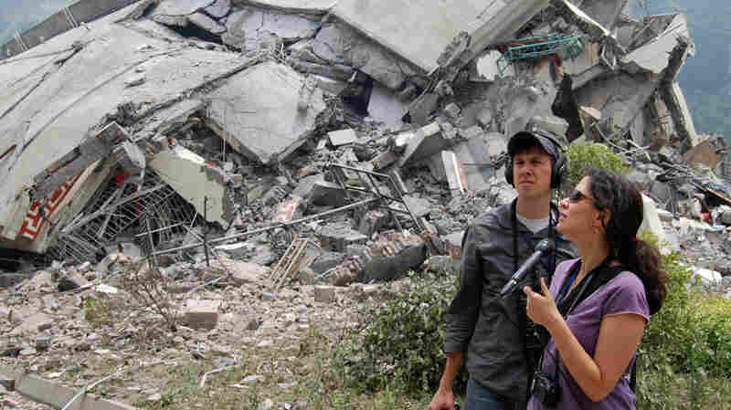 Melissa Block reporting in China in 2008. She was on a reporting trip to southwest China when a massive earthquake hit, leaving some 90,000 dead or missing.