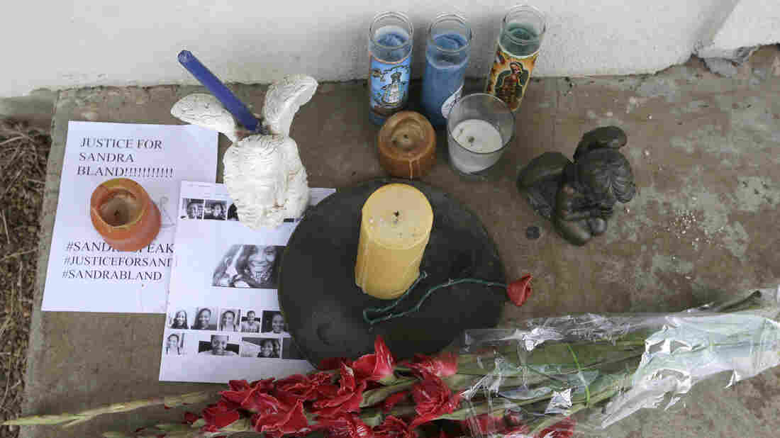 A memorial sits outside the Waller County Jail last month in Hempstead, Texas. Activists have taken to demonstrating outside the jail, where Sandra Bland died of an apparent suicide in her cell.
