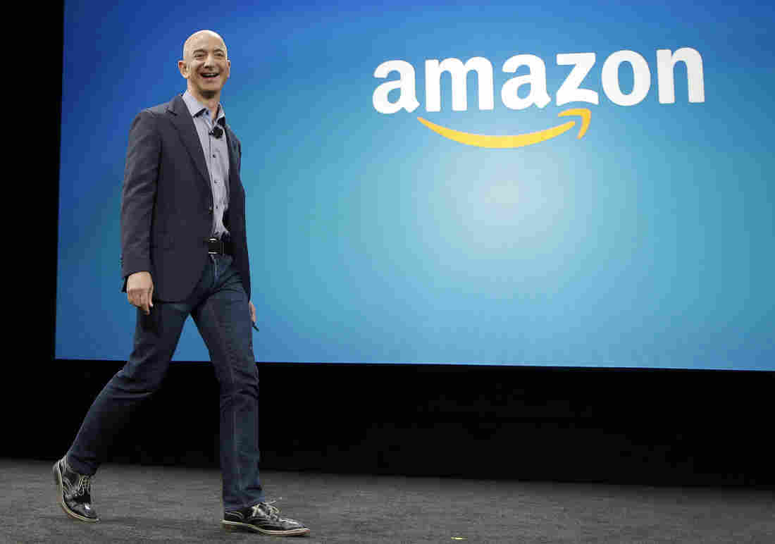 Amazon CEO Jeff Bezos appears at an event last year in Seattle for the launch of the new Amazon Fire Phone.