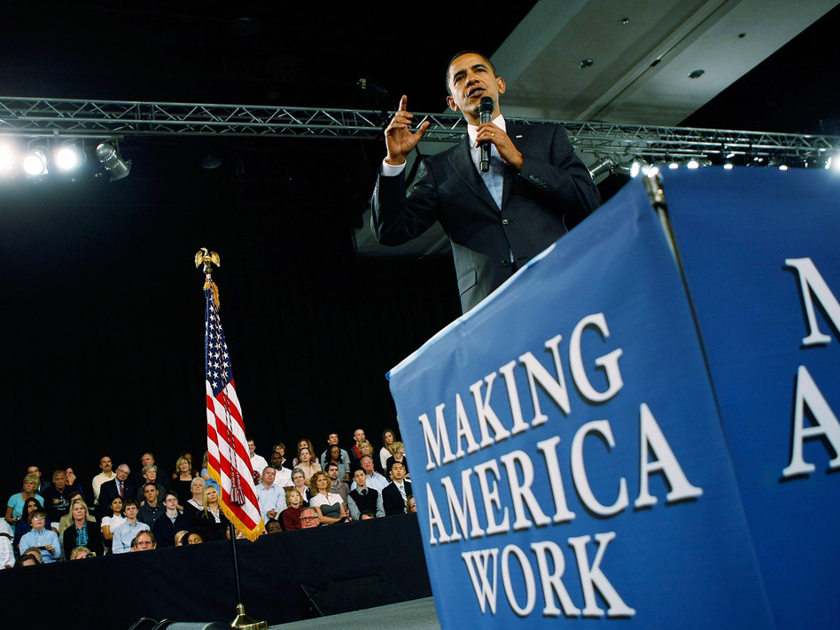 President Obama promotes the American Recovery and Reinvestment Act, also known as the stimulus package, in February 2009. (Joe Raedle/Getty Images)