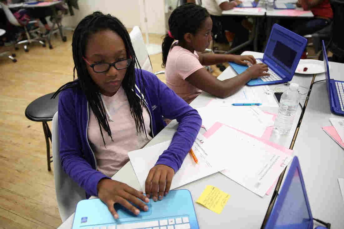 Teenage girls in San Francisco participate in a weeklong Black Girls CODE summer camp.