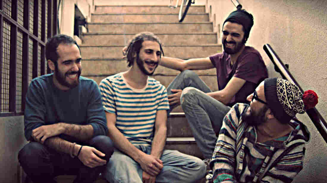 Members of the Syrian band Khebez Dawle include (from left to right) Hekmat Qassar on guitar and keyboards, lead guitarist Bashar Darwish, bassist Muhammad Bazz and lead singer Anas Maghrebi. Half the band members are now in Turkey, and are strongly considering seeking asylum in Europe.