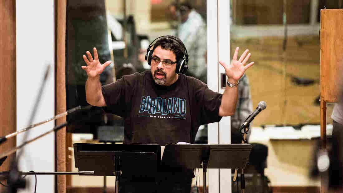 Arturo O'Farrill conducts during recording sessions in Havana last winter.