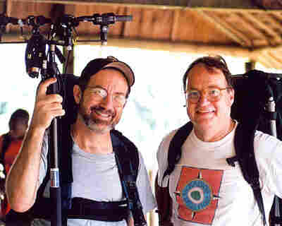 Bill McQuay and former NPR host and correspondent Alex Chadwick in 2002, after an elephant recording session at Dzanga Bai, in the Central African Republic.