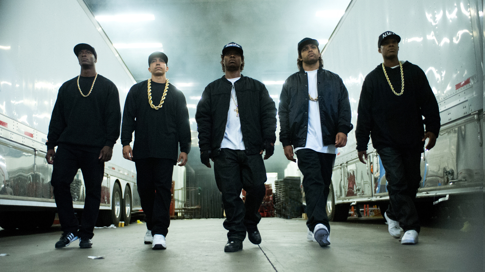 MC Ren (Aldis Hodge), DJ Yella (Neil Brown Jr.), Eazy-E (Jason Mitchell), Ice Cube (O'Shea Jackson Jr.) and Dr. Dre (Corey Hawkins) form N.W.A in <em>Straight Outta Compton</em>.