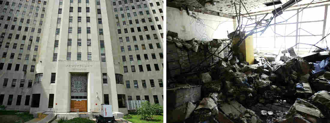 The shuttered main entrance of New Orleans' Charity Hospital (left), after storm and flood damage (right) from Hurricane Katrina closed it down in 2005.