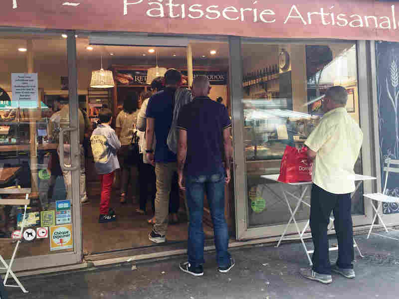 Outside one of the few open boulangeries in Paris.