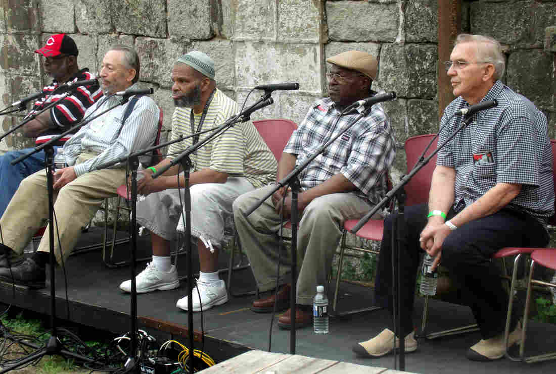 """Former inmates, civilian staff and corrections officers returned to Eastern State this summer to talk about life in the prison. """"This place here really did something to me psychologically,"""" recalled former inmate Anthony Goodman (center)."""